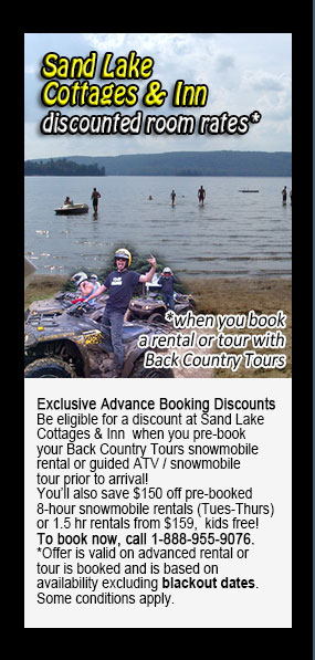 Back Country Tours Snowmobiling at Sand Lake Cottages & Inn Haliburton